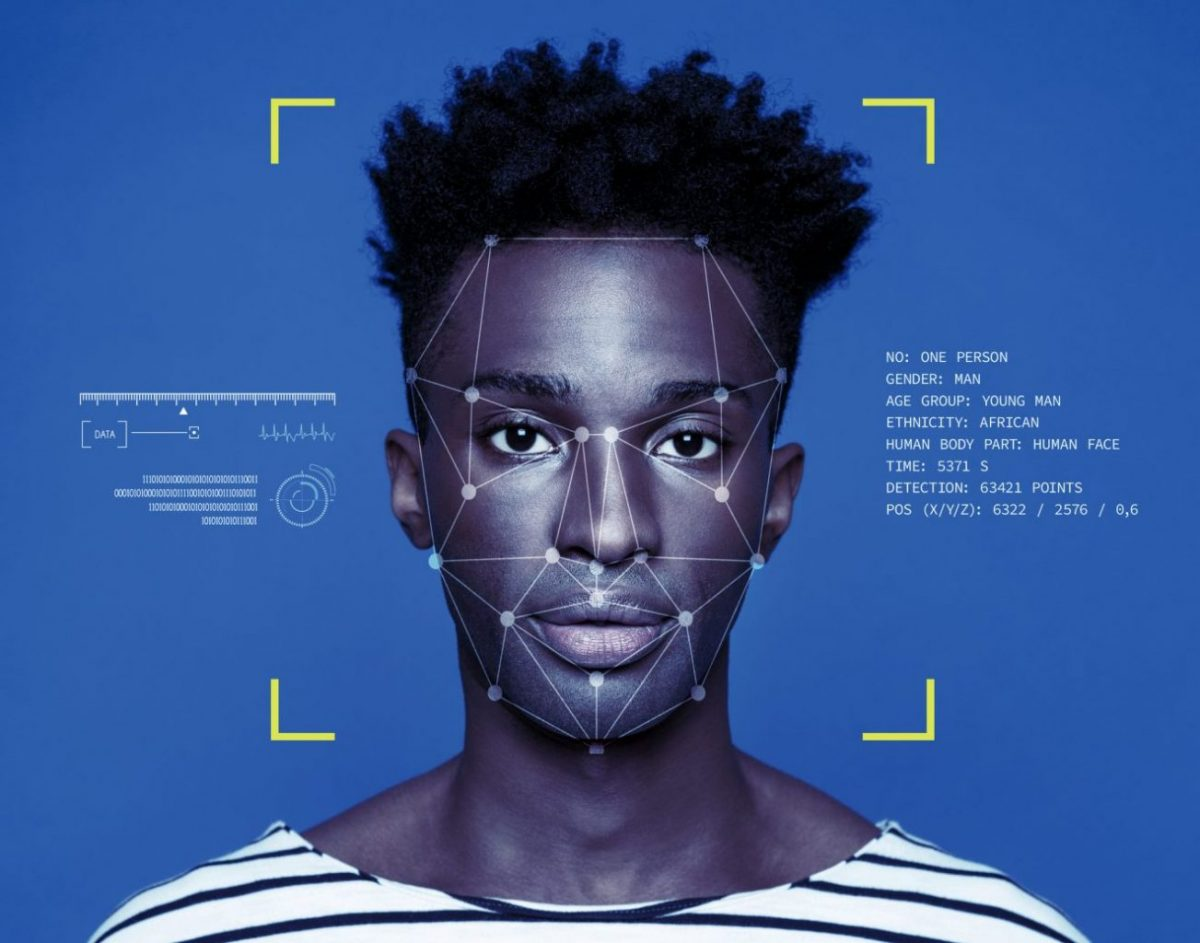 Facial Recognition System, Portrait of young man.