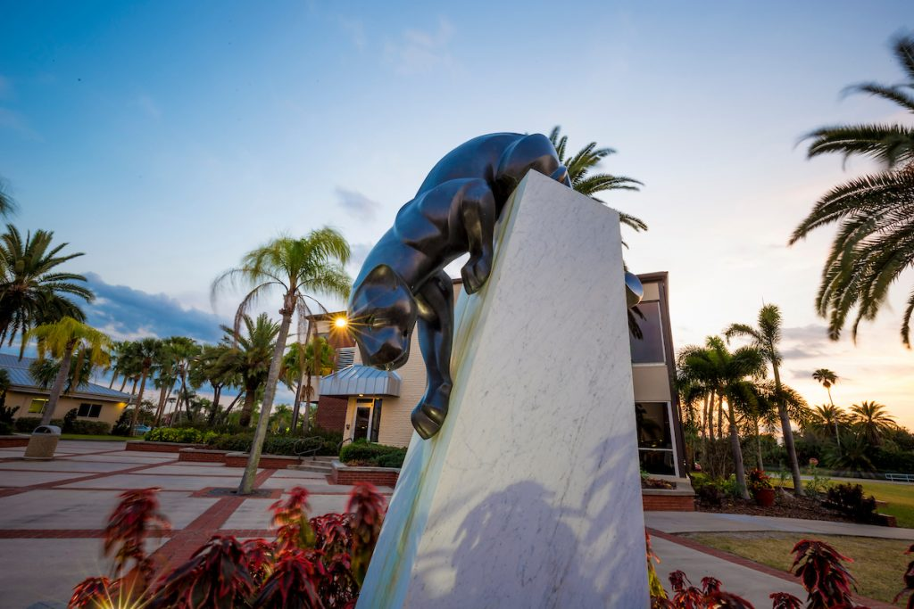 Florida Tech's Panther Plaza at sunset