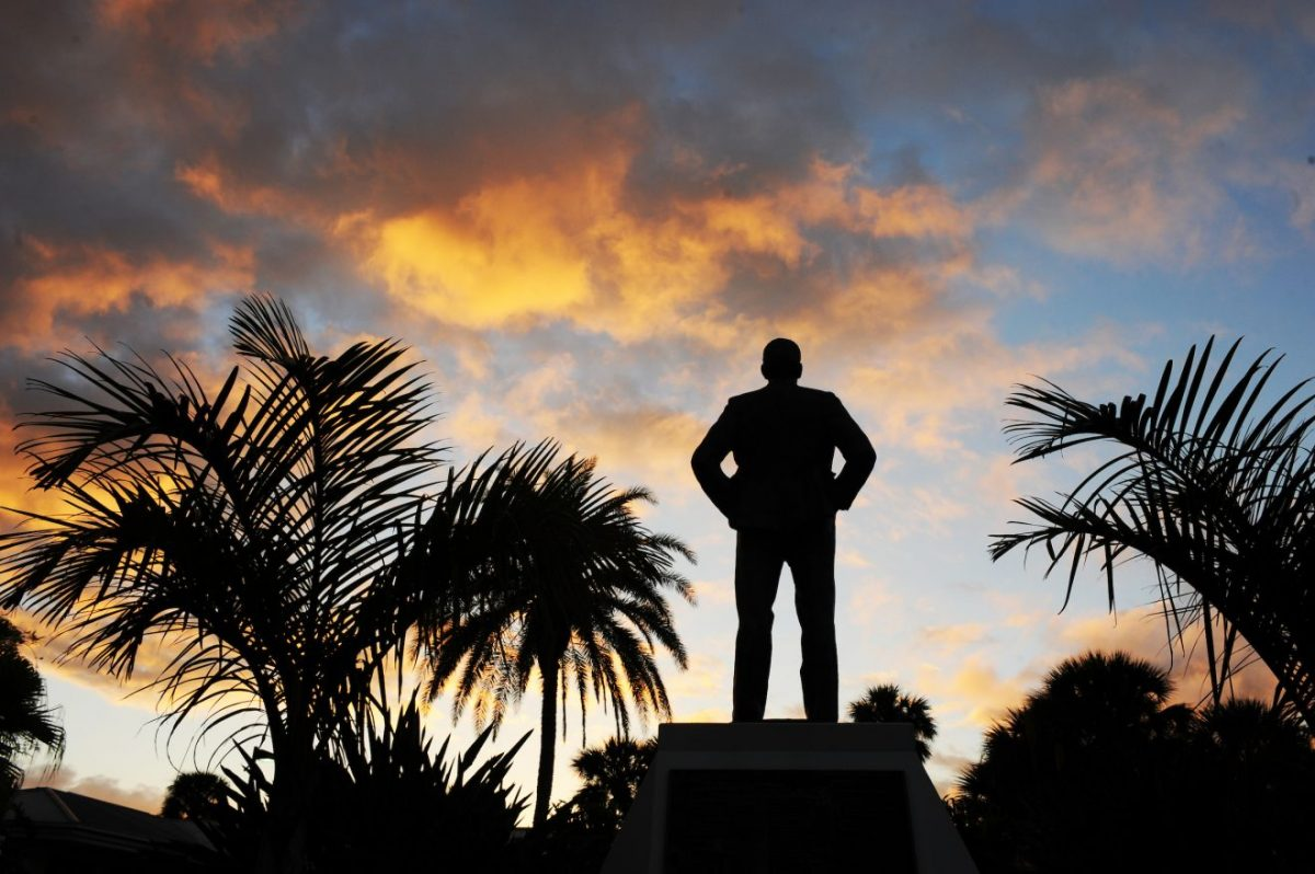 A statue of Florida Tech founding president Jerome Keuper looks over the Melbourne campus.