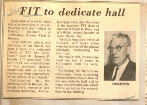 Fred Robert's Honored at Building's Dedication