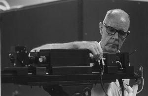 Professor Walter Nunn calibrating laser