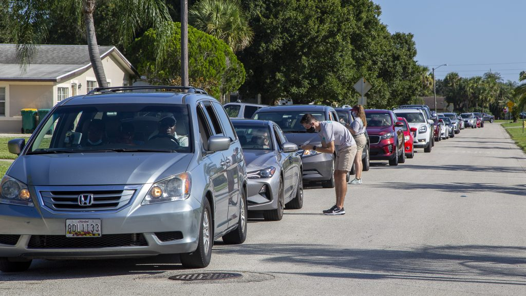 To ensure safety and efficiency, student and parents remained in their cars during the check-in at Florida Tech in Melbourne.