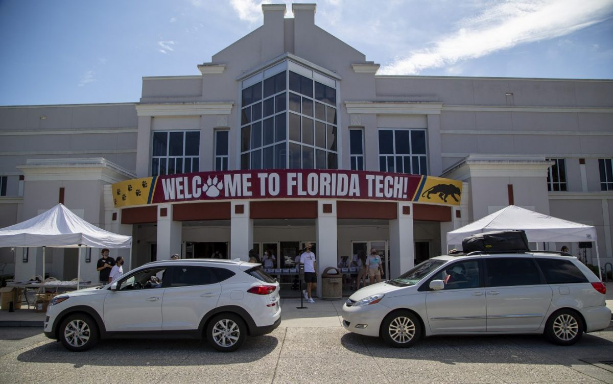 Student and parents remained in their cars during the innovative check-in process at Florida Tech in early August.