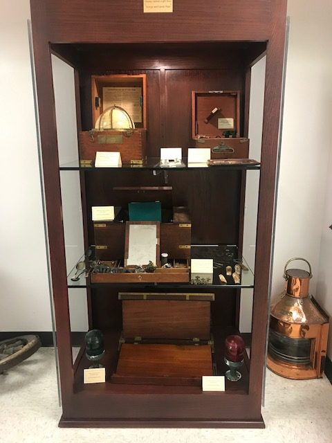 A cabinet full of celestial navigational tools