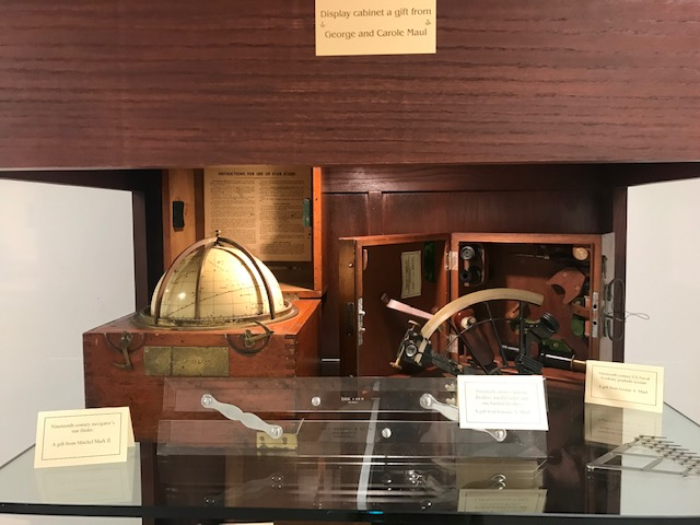Some celestial navigational tools on display in the Maritime Heritage Collection at Florida Tech