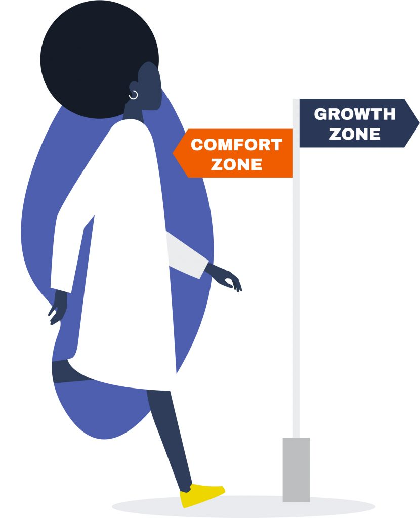 """Illustration of a Black woman passing a directional sign indicating that """"Comfort Zone"""" is behind her and """"Growth Zone"""" is where she is headed"""