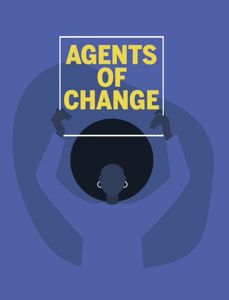 """Illustration of a Black woman holding a sign that reads """"Agents of Change"""""""