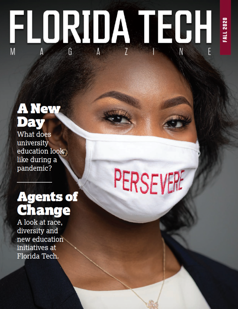 Cover of Florida Tech Magazine's fall '20 issue featuring Furaha Merritt, an information systems senior and president of the Black Student Union