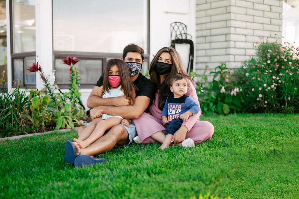 Raj Sareen '04 and his family model face masks by Remasque, his company that manufactures innovative, reusable masks from bamboo—a sustainable, antibacterial fabric that fights moisture and odor two to three times better than cotton and is more breathable than most cotton and polyurethane versions.