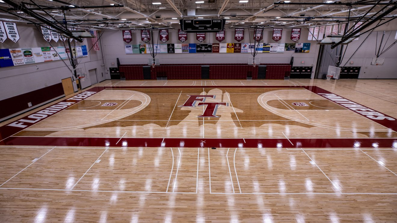 The Clemente Center's newly redesigned basketball and volleyball court, completed in June 2020