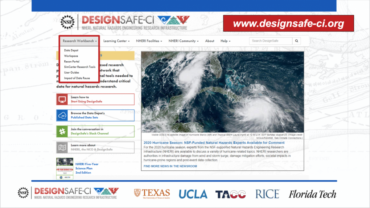 Screenshot of the DesignSafe website