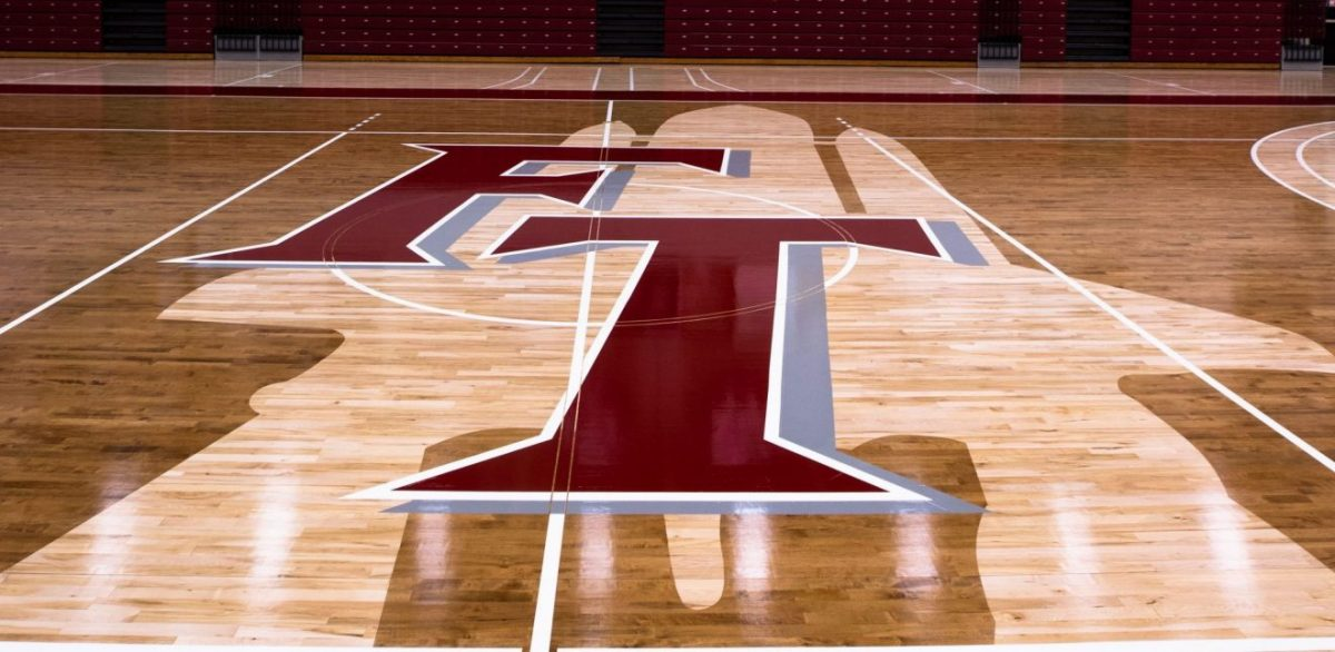 Florida Tech basketball court with space shuttle silhouette