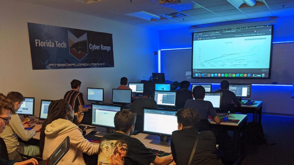 Members of FITSec, Florida Tech's cybersecurity team, practice for an upcoming capture the flag competition