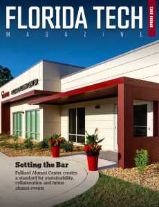 Cover of the spring 2021 issue of Florida Tech Magazine featuring a picture of the Folliard Alumni Center