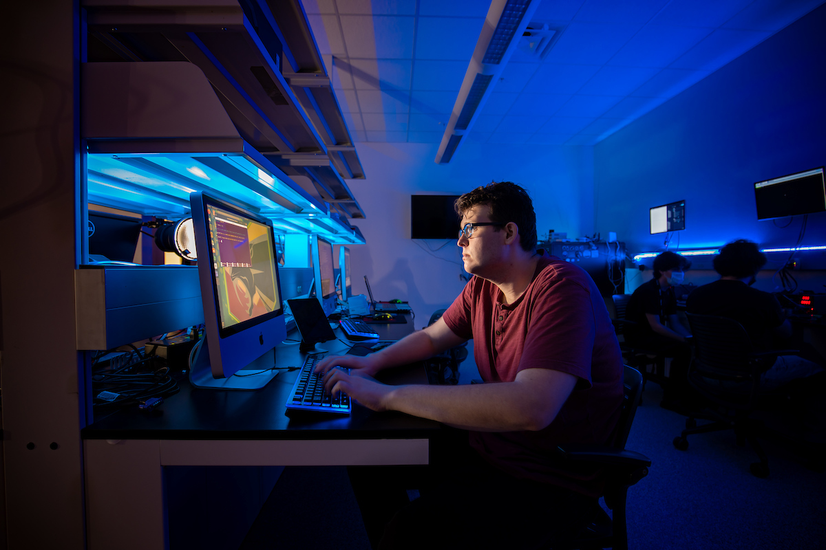 Graduate student Blake Janes in Florida Tech's IoT Security and Privacy Lab.